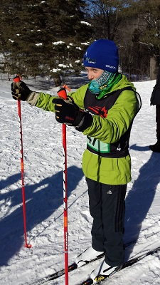 Corporal Baillon waits for the start signal of his first biathlon competition in Gatineau in February 2016.
